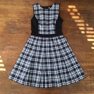 W by Worth Black and White Plaid Dress w/Pockets